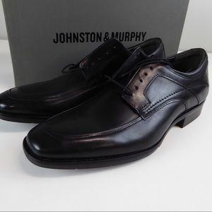 Johnston & Murphy Blk Leather Moc Dress Shoes NIB